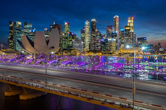 Singapore Blue Hour (BP Chua) Tags: city cityscape singapore asia buildings cbd district marinabay marinabaysingapore artscience museum bluehour sunset lights helixbridge landscape wideangle