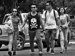 Cross (Beegee49) Tags: people crossing street skull crossbones jolly roger bacolod city philippines
