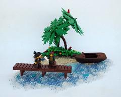 Definitely a Deal (Robert4168/Garmadon) Tags: lego brethrenofthebrickseas captainwhiffo dealer ship jollyboat palm tree island water dock boardwalk vegetation eslandola green jungle