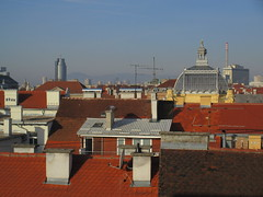 Rooftops with Art Pavilion dome and Cibona Tower from Hotel Astoria, morning, Zagreb, Croatia (Paul McClure DC) Tags: zagreb croatia hrvatska balkans feb2017 architecture modern historic