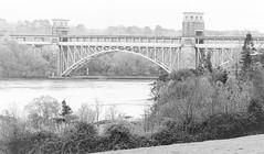 Britannia bridge, Anglesey. (cymrost) Tags: wales anglesey britanniabridge menaistraits water blackwhite