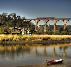 Trains, Boats and . . . (suerowlands2013) Tags: calstock rivertamar aonb cornwall viaduct tamarvalleyrailwayline reflections morning peace tranquility cornwalldevonborder