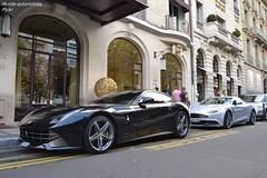 Ferrari F12 & Aston Martin Vanquish (Monde-Auto Passion Photos) Tags: auto automobile voiture vehicule ferrari f12 berlinetta coupé noir sportive rare rareté astonmartin aston martin vanquish gris france paris