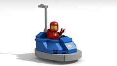 CS Dodgem (David Roberts 01341) Tags: dodgem bumpercar lego ldd digital povray classicspace scifi minfigure funspacemen toy