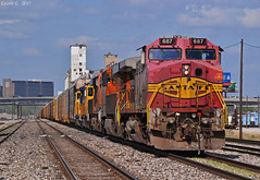 """Westbound Local in North Kansas City, MO (""""Righteous"""" Grant G.) Tags: bnsf atsf santa fe railway railroad locomotive train trains west westbound local freight kansas city missouri north ge power"""