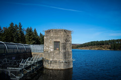 From The Dam (Michael_Barnes) Tags: dam cod beck reservoir trees nature water lake blue sky landscape building protected metal yorkshire osmotherley outdoors barbed wire window stone brick tower pumping