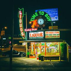 Time to Buy (Thomas Hawk) Tags: america california encinoparkliquor liquorstore losangeles usa unitedstates unitedstatesofamerica clock neon fav10 fav25 fav50