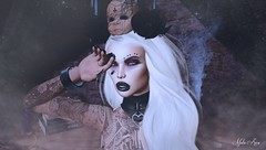 Witch (Mistic Aura <<Taking client>>) Tags: mesh sl second life head dark goth flower with collar nails nevrose