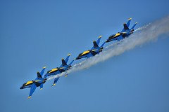 Tight Formation Flying (swong95765) Tags: jets navy blue angels formation speed performance show fast smoke sky