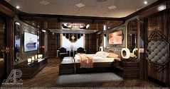 M/Y Acer 47m - Master Suite Design (andrei.pastushuk) Tags: apdesign andreipastushuk classic classical classy modern contemporary traditional black grey rose gold frame molding interior design master suite cabin bedroom bed highend luxury elite beautiful stylish art deco decor leather dark comfortable indoor lamp sconce light builtin wall loudspeakers stateroom