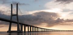 The Vasco da Gama Bridge (olegfilatov) Tags: река васкодагама лиссабон мост португалия рассвет bridge
