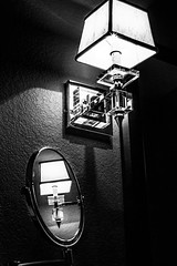 07 Bathroom Light Fixture (jeanettefellows) Tags: clarke hotel waukesha wisconsin reflection light fixture blackandwhite glass mirror