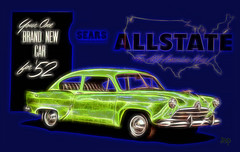 1952 Allstate (crimsontideguy) Tags: allstate 1953 history automobiles art digital classiccars advertising retro photoshop artgraphics textures 1953allstate signs