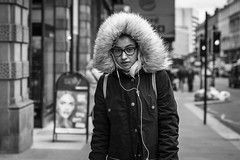 Frozen (Leanne Boulton) Tags: monochrome portrait people urban street candid portraiture streetphotography candidstreetphotography candidportrait streetportrait eyecontact candideyecontact streetlife woman female girl face facial expression look emotion feeling eyes hood fur glasses cold winter spring chilly tone texture detail depthoffield bokeh naturallight outdoor light shade shadow city scene human life living humanity society culture canon canon5d 5dmarkiii 70mm character ef2470mmf28liiusm black white blackwhite bw mono blackandwhite glasgow scotland uk