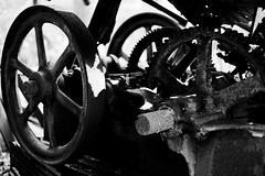 Machine  #2 (jswigal) Tags: archers fork wayne national forest ohio marietta nfs outdoors outside woods trees plants nature landscape sony alpha rokkor a7r a7 ilce bw black white blackandwhite monochrome high contrast industrial machine decay old vintage obsolete industry gears wheel wheels cogs