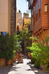 summer moods (JoannaRB2009) Tags: summer street building architecture light shadow flower plant flowerpot wooden house path chania hania xania canea city town oldtown urban crete kriti kreta greece greek