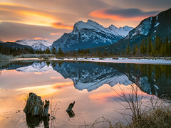 Sunrise over Vermillion Lakes - Banff National Park (rskura) Tags: banffnationalpark justpentax vermillionlakes 645z pentax longexposure nature sunrise mountains lake water reflections sky color banff landscape outdoor beauty serenity peaceful naturescanvas