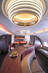 On Board Qatar Airways A380 (A Sutanto) Tags: qr qatar airways airbus a380 a388 cabin view interior inside lounge bar business class upper deck plane jet