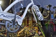 Bike Shop (AntyDiluvian) Tags: california beach la losangeles hermosabeach bike bicycle shop store hermosacyclery sprocket chainguard electra blancetnoir