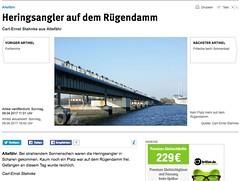 """Screenshot """"Ostsee-Zeitung"""" (Carl-Ernst Stahnke) Tags: ostseezeitung angler rügendamm verbot schilder warnschilder radfahrer heringe strelasund rügenbrücke"""