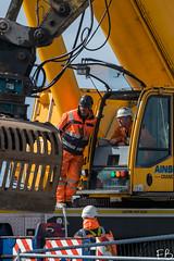 Crane Talk (frisiabonn) Tags: outdoor merseyside england uk britain liverpool birkenhead crane operator worker bridge demolition dismantle