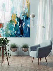 Original blue abstract painting by Omar Obaid (Omar Obaid) Tags: wall interior art frame room home livingroom modern hipster frames banner painting furniture mock up graphic 3d dream lifestyle poster design travel presentation portfolio business advertising concept nobody flower 3drendering armchair foor blue floor apartment new sign show template pastel rendering realistic brand cool paper elegance board indoors image relaxation serbia
