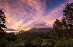 Arenal Volcano sunset from our villa - Arenal Observatory Lodge, Costa Rica (Jonmikel & Kat-YSNP) Tags: costarica arenal volcano forest april vacation centralamerica sunset afternoon sky