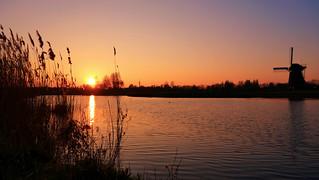 Sunset and dutch windmill