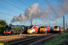 4 Trains, History was made as the Flying Scotsman steam locomotive, an HST, a 225 electric unit and one of the new Azuma trains run south side by side on all four tracks on the East Coast Mainline north of York on the 23rd of April 2017 (dave hudspeth photography) Tags: virgin flyingscotsman nrm york yorkshire trains iconic famous davehudspeth steam electric diesel fast speed dawn