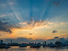 City Sunset in Kwun Tong (Hong Kong) (long_chan05) Tags: 香港 九龍 hk kwun tong sunset city cityscape boat