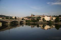 Prague (lukowskamonika) Tags: reflection castle sunrise republic czech prague vltava
