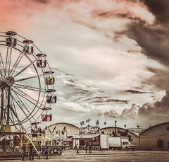 Threatening a Good Time (Chains of Pace- Road Trip to LA) Tags: storm oklahoma clouds vintage unitedstates sony fair retro ferriswheel prairie panhandle guymon