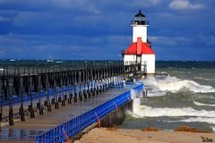 Rough Seas (Thom Sheridan) Tags: lighthouse waves stjoseph lakemichigan greatlakes beacon 2014