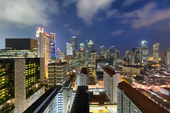 City Complexion (Mabmy) Tags: city architecture clouds canon buildings singapore chinatown sigma cbd bluehour 12mm hdb 1dx manualblending