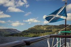 Saltire (spectralvector) Tags: walter summer sky white lake cold green water metal thanks lady clouds scott scotland boat flying ship no yes flag country north hills loch railing steamship independence sir lochs ending saltire katrine indyref