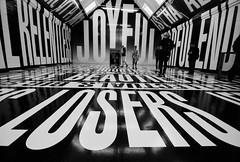 jOYFul LOSERS (Biker Jun) Tags: england bw film unitedkingdom oxford barbarakruger canoneos50e fujineopanacros100 modernartoxford