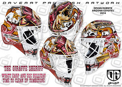 The Giraffe Sheriff - Wyatt Earp and Doc Holliday - Time to clean up Tombstone (DAVEART MaskGallery) Tags: arizona hockey nhl goalie mask airbrush 2014 coyotes gunnarsson daveart dubnyk