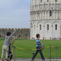 Pushing (Bryn B Jones) Tags: italy tower tourist pisa tuscany leaning