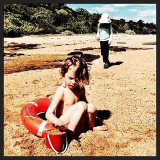 365/262 • focusing really hard on the football...not... • #2014_ig_262 #4yo #6 #beach #whataflgf