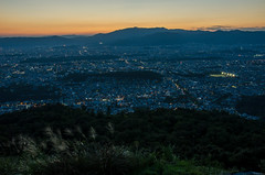 The evening scene of Kyoto (from Daimonji-Yama) /  (Kaoru Honda) Tags: city autumn sunset mountain fall nature japan trekking landscape japanese evening nikon kyoto outdoor hiking mountainclimbing  mountaineering          mountaintrail         d7000