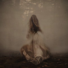chasing (brookeshaden) Tags: selfportrait girl fog forest woods running motionblur mysterious chasing fineartphotography conceptualphotography longblondehair creamdress fairytalephotography brookeshaden