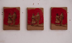 3 X littlecouples (Bruners) Tags: 3 early linen paintings row x raspberry rough van dyke lay | in suspensions littlecouples paddyhamilton dungenessopenstudios dungenessart