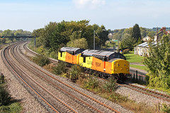 37219  leading with 37175 1Z37 1210 Barry - Kings Norton O.T.P. Depot at Magor Newport 30.09.2014 (1) (The Cwmbran Creature.) Tags: train head rail class british 37 treatment colas rhtt