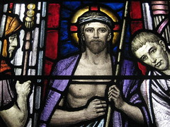 Detail of Scourged Jesus and Pontius Pilate in the Behold the Man Window by Napier and Christian Waller; St Mark's Church of England - Corner Burke and Canterbury Roads, Camberwell (raaen99) Tags: 1920s building window glass saint architecture religious suburban jerusalem religion jesus gothic guard australia melbourne stainedglass victoria 1950s bible suburbs artdeco 50s 20thcentury 1928 stainedglasswindow biblical crucifixion burkeroad stmarks camberwell 1959 20s anglicanchurch 1927 gothicarchitecture crownofthorns placeofworship gothicchurch churchofengland gospels pontiuspilate eccehomo sonofgod gospelofjohn twentiethcentury melbournearchitecture stmarksanglicanchurch religiousbuilding thecrucifixion burkerd beholdtheman churchstainedglass napierwaller romanguard melbournesuburbs stainedglasschurchwindow mervynnapierwaller crucifixionofjesus artdecostainedglass gothicdetail stmarkschurchofengland christianwaller twentiethcenturystainedglass artisticallydesigned camberwellchurchofengland camberwellanglicanchurch stmarkscamberwell scornedjesus