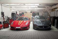 Scuderia & MC Stradale (Thomas Jamet Photographie) Tags: red two black paris france rouge italia noir duo garage automotive ferrari mc f gt luxury scuderia italie maserati stradale f430 supercars slection