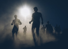 Halo 2 (Conor F. Shine) Tags: public silhouette flare runners dust temecula ocr vaillake toughmudder