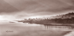Buyan Mist (stuckinparadise) Tags: bali mist lake monochrome sepia sunrise indonesia dawn twin danau buyan stuckinparadise