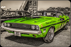 1973 Dodge Challenger Rallye. (Suggsy69) Tags: green car nikon automobile dodge challenger lightroom brandshatch selectivecolour d5200 dodgechallengerrallye