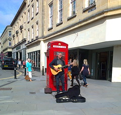 A busker at the bottom of Stall Street (southglosguytwo) Tags: city buildings bath september shops busker van cameraphoneshot 2014 stallstreet variouspeople