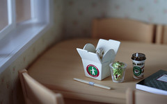Take-Out for Lunch (Renatta_R) Tags: window kitchen coffee notebook table salad room chopstick rement diorama
